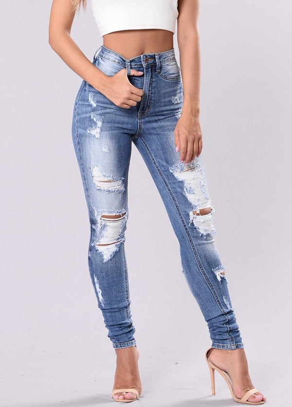 Ripped Stretch Skinny Casual Jeans