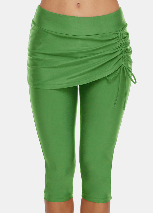 Solid Color High Waist Swim Pants