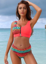 Zipper Front Patchwork Bikini Set