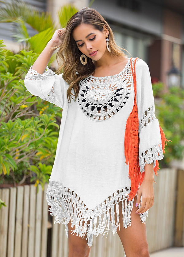 Cut Out Tassels Hem Cover Up