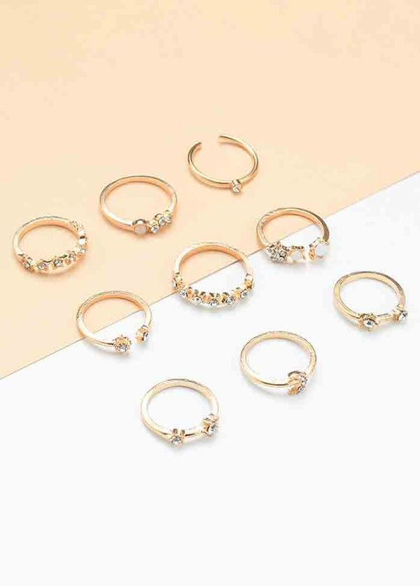 Simple And Versatile Geometric 9-piece Joint Ring