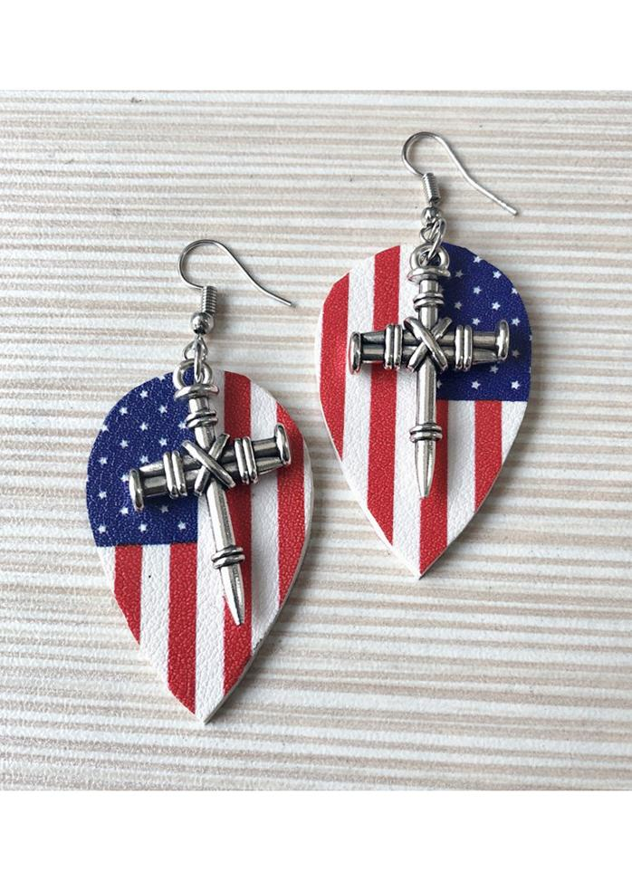 Flag Day Theme Printed Flag Star Metal Sword Multi-layer Earrings