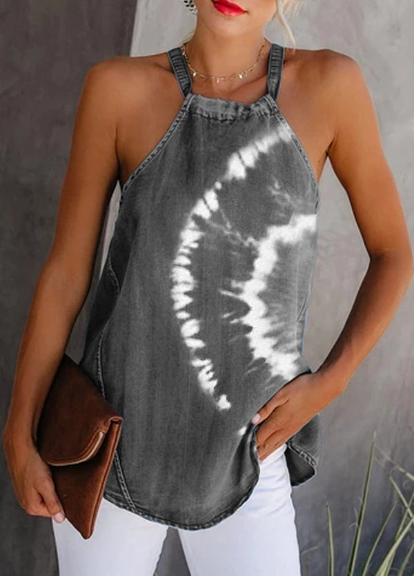 Straps Printed Sleeveless Tank Top