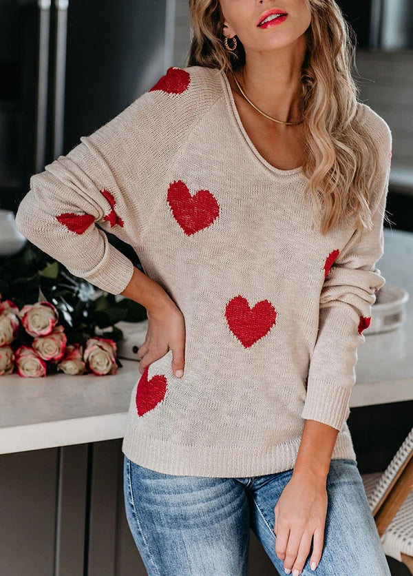 Long Sleeve V Neck Printed Sweater