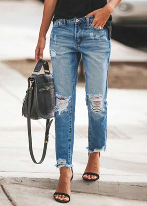 Blue Casual Ripped Skinny Long Jeans