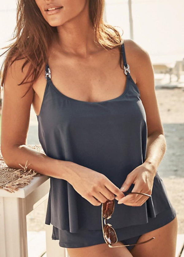 Solid Color Metal Button Tankini Set
