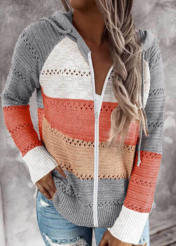 Long Sleeve Hat collar Striped Sweater