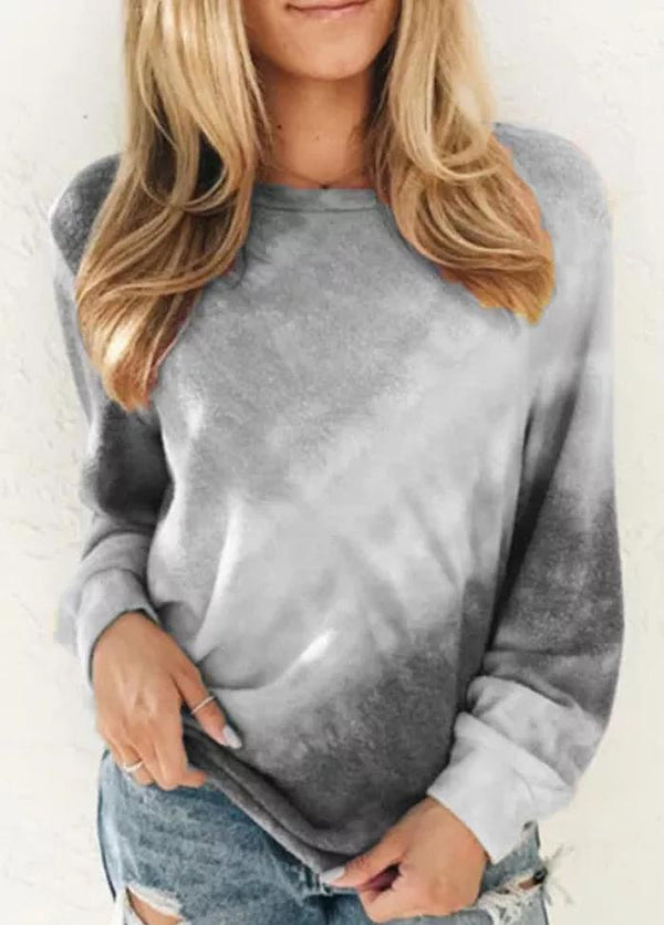 Gradient Round Neck Long Sleeve Top
