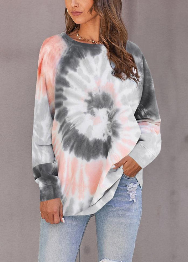 Gradient Long Sleeve Round Neck Top