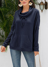 Solid Color Heap Collar Long Sleeve Top