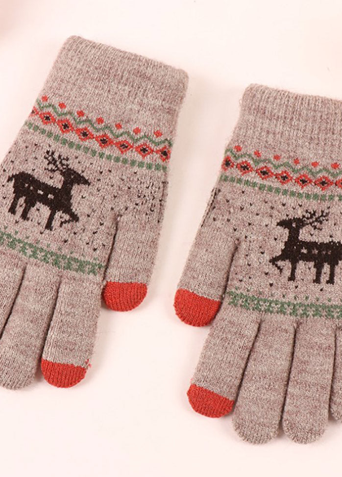 Cartoon Elk Pattern Gloves