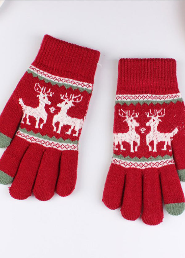 Elk Pattern Knitted Gloves