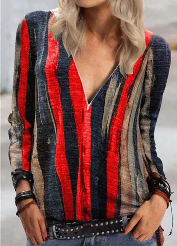 Striped Zipper Front Shirt