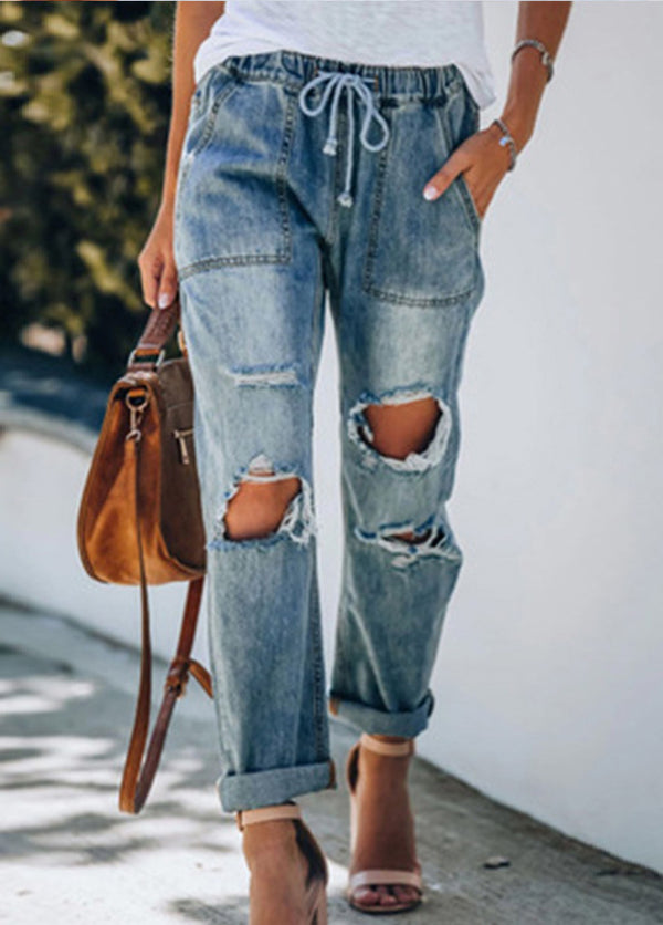 Ripped Straight Leg Casual Jeans