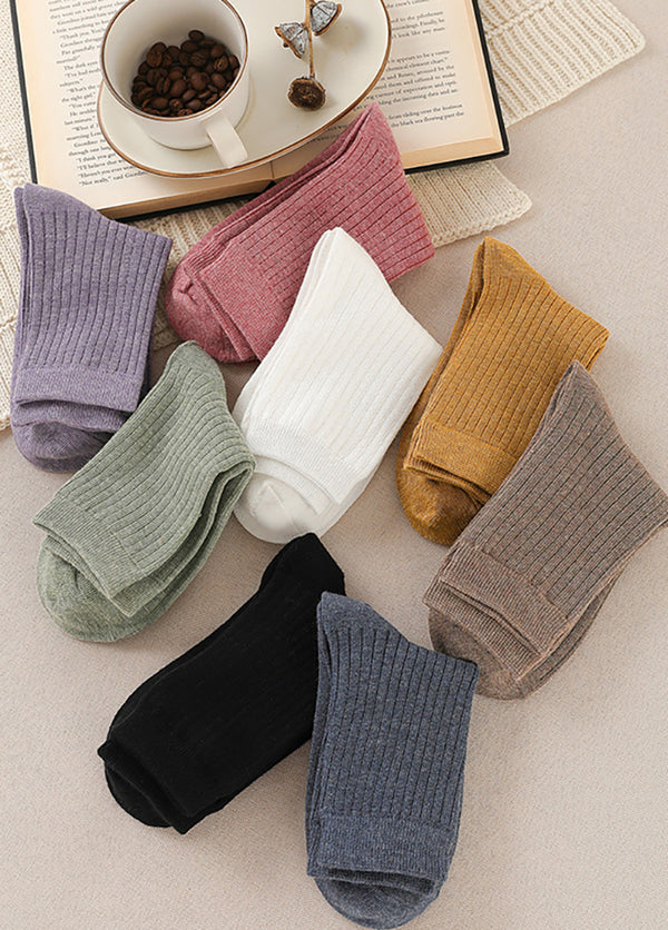 5 Pairs Solid Color Middle Cut Women's Socks