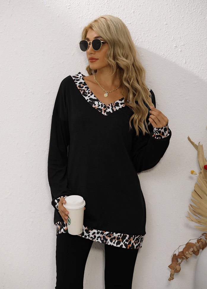 Leopard Patchwork Long Sleeve T-shirt