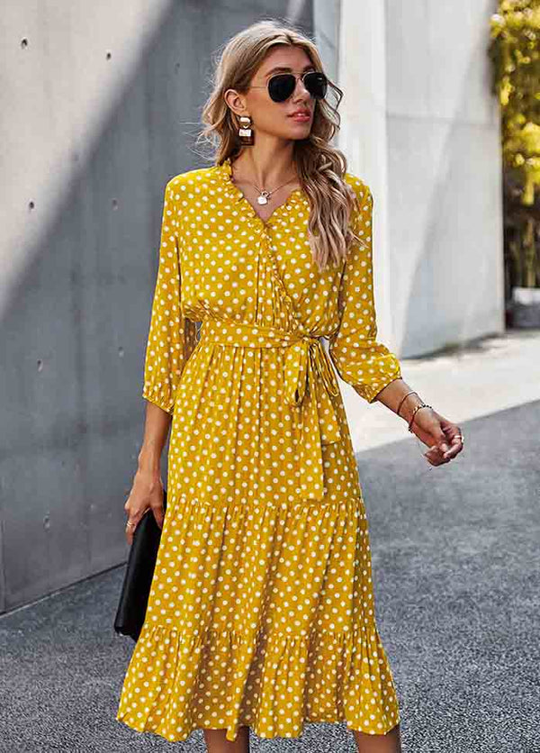 High Waist Dot V Neck Dress