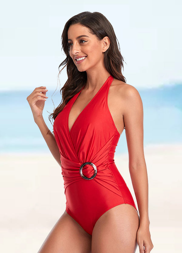 Solid Color One Piece Swimwear