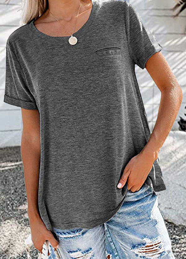 Solid Color Round Neck Short Sleeve T-shirt