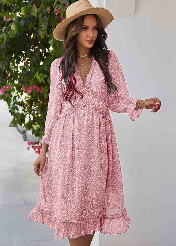 Printed Long Sleeve V Neck Dress