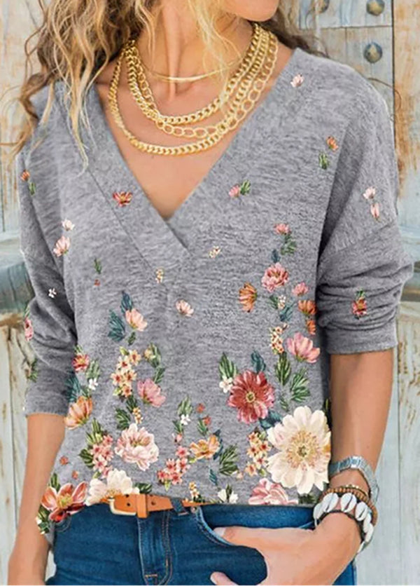 Printed Long Sleeve V Neck Shirt