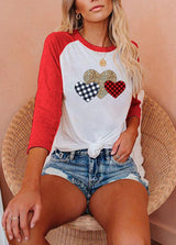 Love Printed Patchwork Round Neck T-shirt