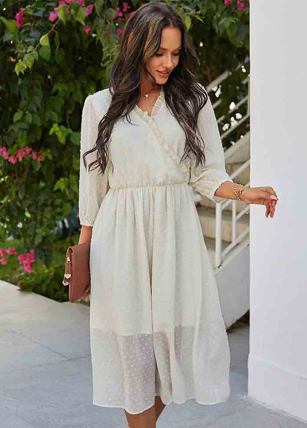 V Neck Solid Color Dress