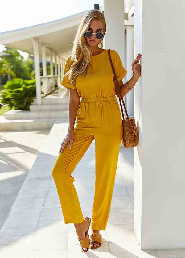 Short Sleeve Solid Color Jumpsuit