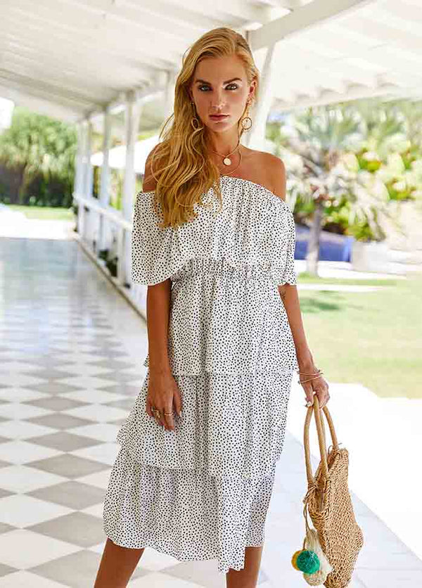 Off The Shoulder Printed Dress