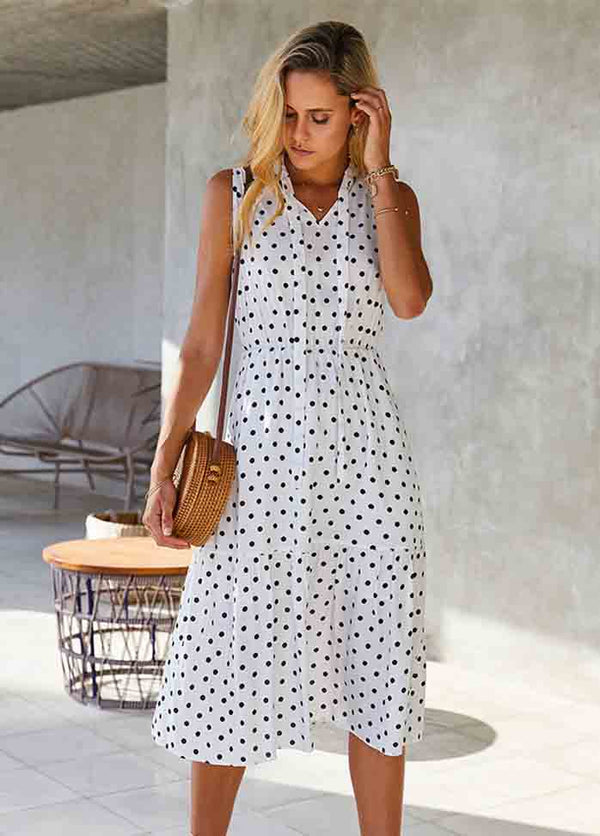 Dot V Neck Sleeveless Dress
