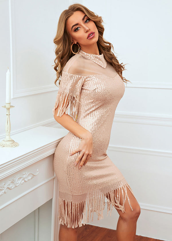 Solid Color Tassels Sequins Dress