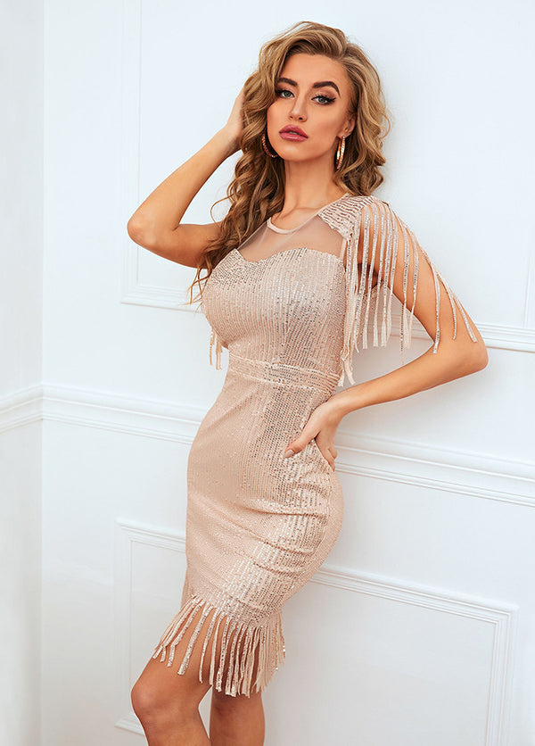 Tassels Sequins Round Neck Dress