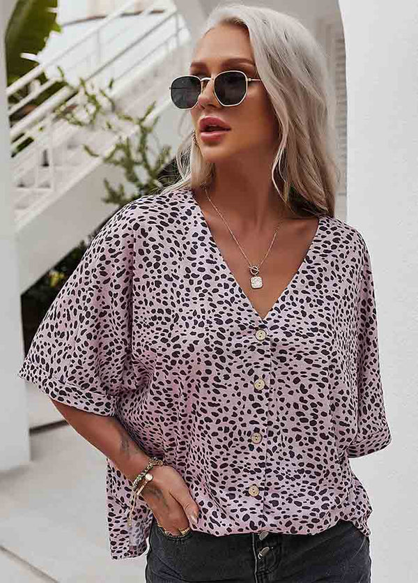 Leopard Printed V Neck Casual T-shirt