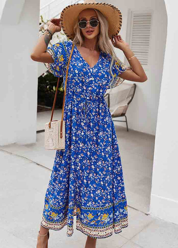 Printed V Neck Short Sleeve Dress