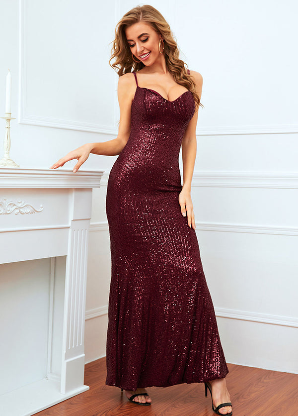 Sequins Straps Solid Color Maxi Dress