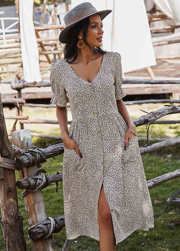 Short Sleeve V Neck Printed Dress