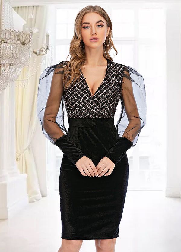 V Neck Mesh Patchwork Long Sleeve Dress