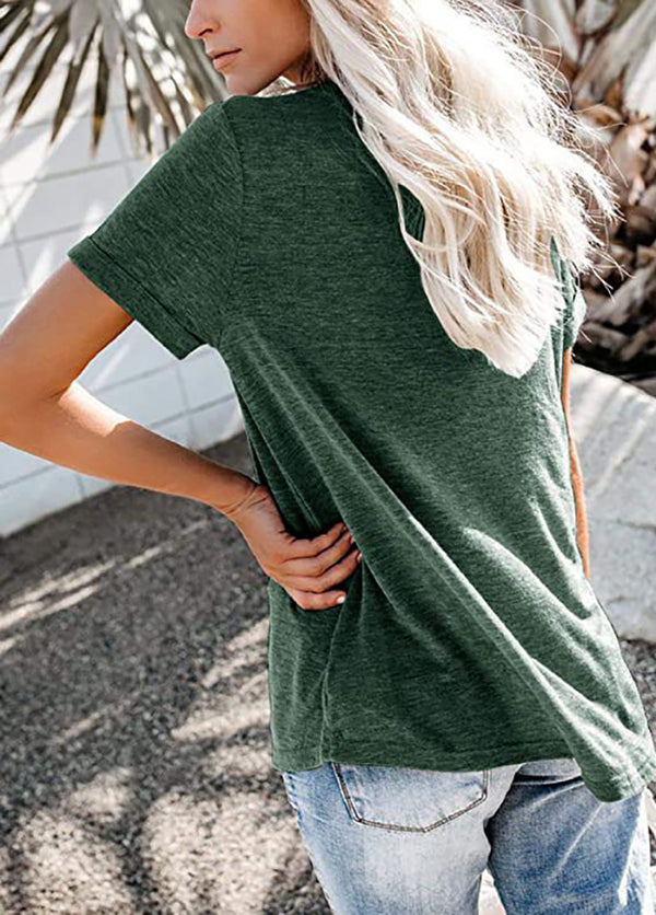 Solid Color V Neck Short Sleeve T-shirt