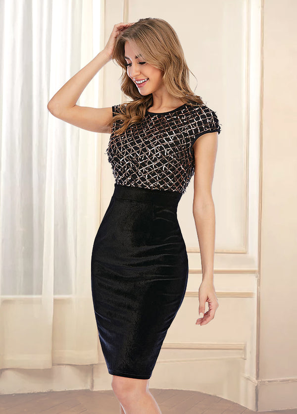 Sequins Patchwork Round Neck Dress