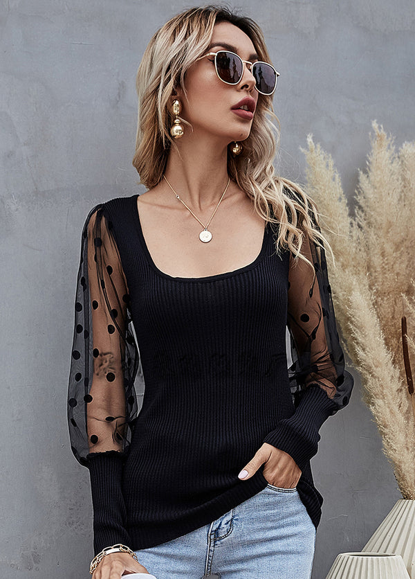 Mesh Patchwork Long Sleeve Casual Top
