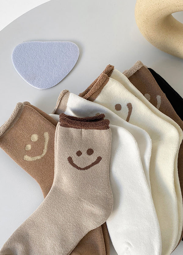 5 Pairs Smiley Print Women's Socks