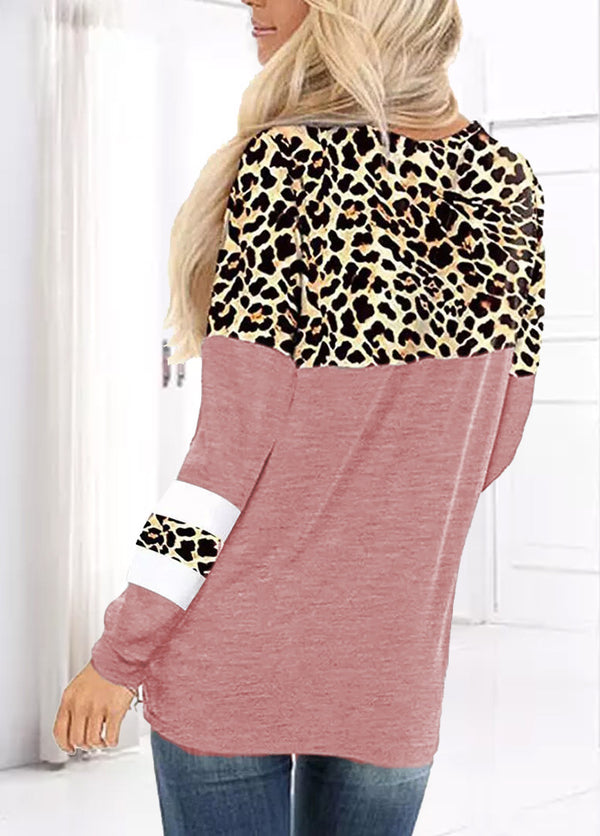 Leopard Patchwork Round Neck Long Sleeve Shirt
