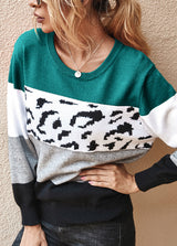 Round Neck Patchwork Casual Sweater