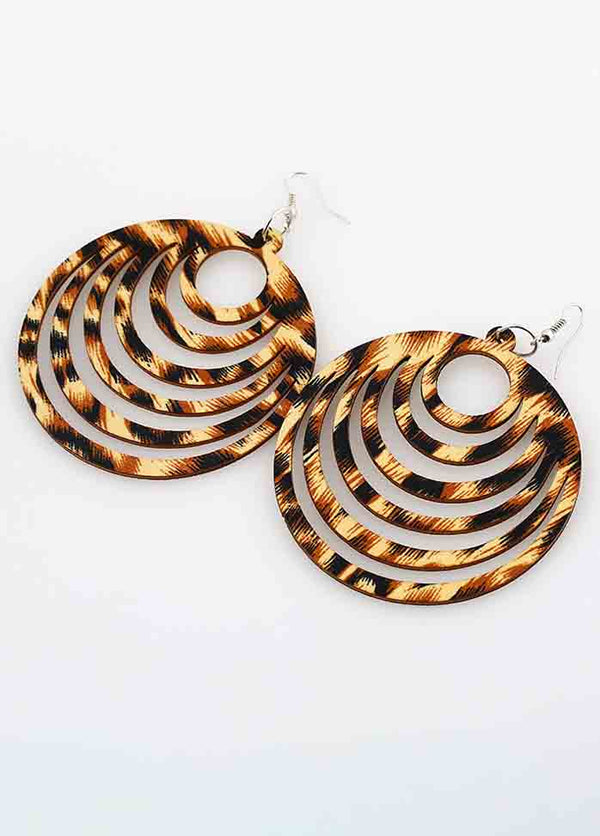 Geometric Hollow Wooden Earrings