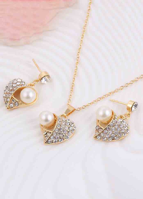 Peach Heart Pearl Jewelry Set