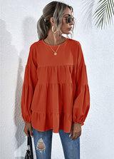 Solid Color Lantern Sleeve Shirt