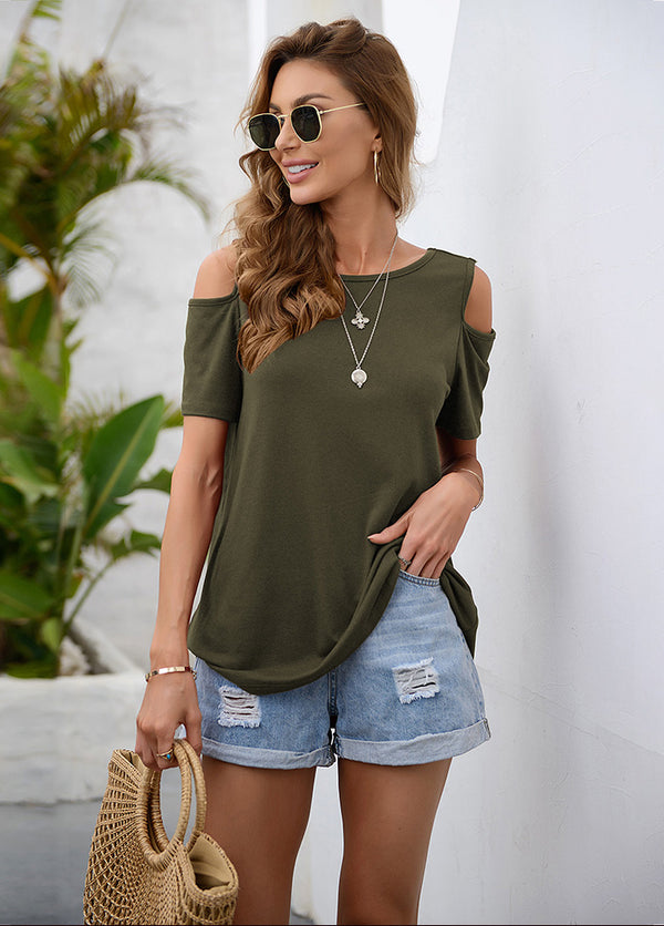 Round Neck Cold Shoulder Short Sleeve T-shirt