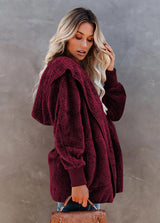 Solid Color Hooded Coat