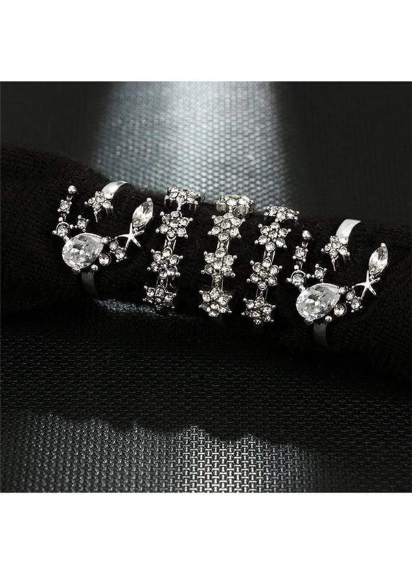 5pcs Flower Shape Rhinestone Decorated Silver Metal Rings Silver 1901250509001