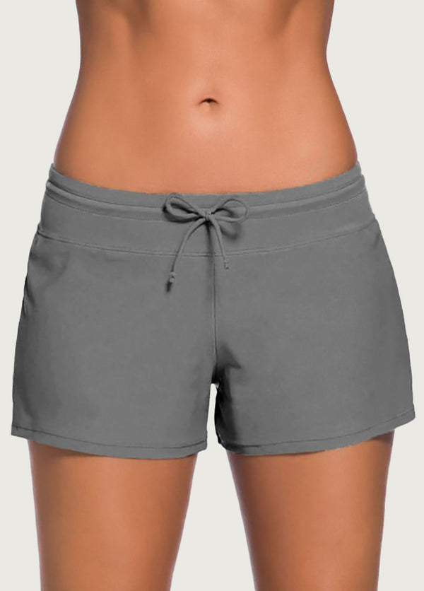 Solid Color Casual Swim Shorts